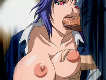 Hot blue haired hentai babe sucks a mean one